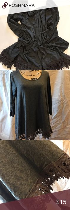 "Maurice's lace trimmed tunic Cute and comfy Maurices lace trimmed gray tunic in size large. Measures 38"" at bust and 28"" in length. Maurices Tops Tunics"