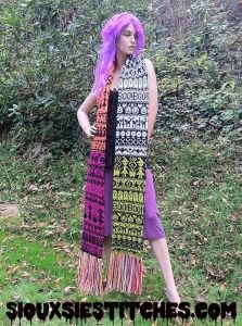 Halloween fair isle scarf - a free knitting pattern from SiouxsieStitches.com