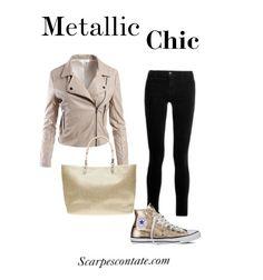 Cosa ve ne pare di questo outfit per le Converse oro?  #Converse #oro #gold #allstar #scarpe