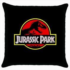 Jurassic Park Dinosaur Movie Logo Throw Pillow Cushion Case. Great movie themed gift idea.