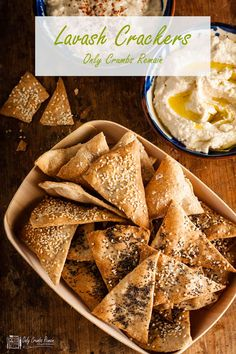 Crisp crunchy lavash crackers sprinkled with seeds. Easy to make and delicious served alongside middle Eastern style dips or a cheese board. Easter Appetizers, Appetizer Recipes, Snack Recipes, Dairy Free Biscuits, Recipe Maker, Bite Size Food, Homemade Crackers, Savory Snacks, Healthy Snacks
