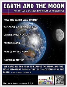 Welcome to the most unique earth and moon content guided note packet ever created. With over 45 pages, this product will excite and bring to life, your students as they learn all about how the moon and earth was created, their characteristics, and the lunar phases. Moon Unit, Lunar Phase, Science Education, Moon Phases, Students, The Unit, Notes, Earth, Content