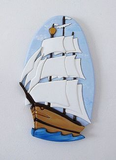 SHIP AHOY INTARSIA ART - by Gina Stern from Woodwork Art Gallery