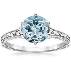 18K White Gold Aquamarine Hudson Ring, top view