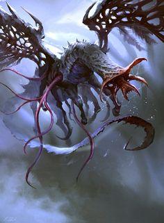 MtG Art: Wretched Gryff from Eldritch Moon Set by Darek Zabrocki - Art of Magic: the Gathering Monster Concept Art, Fantasy Monster, Monster Art, Cthulhu, Eldritch Moon, Eldritch Horror, Cool Monsters, Horror Monsters, Creature Concept Art