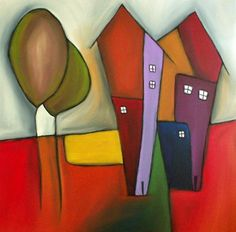 Home Cubism Art, Building Art, Whimsical Art, Naive, Fabric Painting, Line Drawing, Art School, Painting Inspiration, Home Art