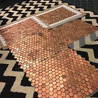 you need (1) About 300 pennies per sq. foot (2) Weldbond Glue (3) Mosaic Tile Mesh (4) Clear Packing Tape (5) Scrap Cardboard (6) Latex Gloves (7) Cement board (8) Mortar (9) Unsanded Grout (10) Polyurethane Sealant, --here are a few squares laid out together! Beautiful!