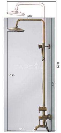 Antique Brass Single Handle Wall Mount Rainfall + Handheld Shower Tap TP06001 - UK Taps Online Shop