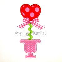 Cute machine embroidery heart topiary applique