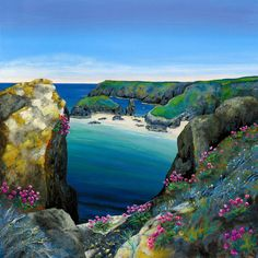 UK ~ Gilly Johns ~ Kynance Cove and Seapins Contemporary Landscape, Abstract Landscape, Homemade Art, House Landscape, Naive Art, Beach Art, Folk, Art Techniques, Beautiful Landscapes