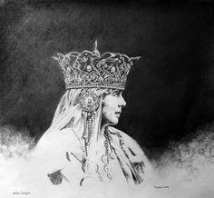 Marie von Rumänien, Kohle auf Tonpapier, 45 cm x 43 cm, 2016/ Leipzig