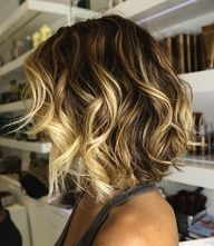 Curly Ombre Bob. This is super cute, I would love it with red where the blonde highlights are...