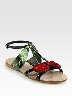 Pretty much in love with these Miu Miu cherry sandals.