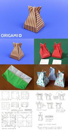 A Very cool Origami Box to put Valentine or Christmas gifts: the Dropbox by José Meeusen. Diagram and video tutorial.
