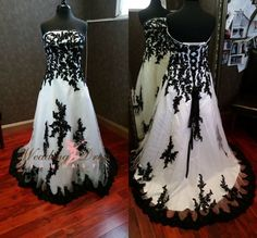 Black and White Strapless Gothic Ball Gown Wedding Dresses A-line Bridal Gowns