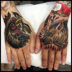 Traditional rooster chicken and boar pig tattoos on hands by James McKenna. [Instagram j__mckenna www.facebook.com/wa.ink.tattoo.shop]