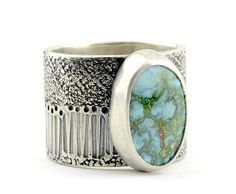 Meadows Limited Edition Turquoise Mountain Silver Ring - Size 7