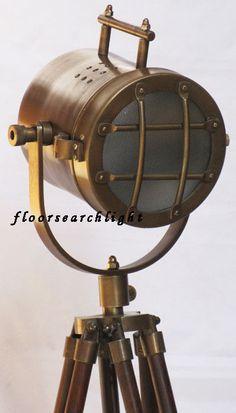 NAUTICAL STUDIO SEARCHLIGHT W/ TRIPOD STAND SPOT LIGHT - DESIGNER TABLE LAMP