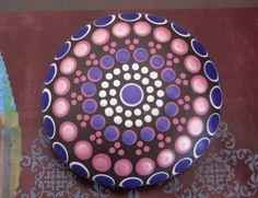 "Mandala Stone Hand Painted River Rock ~ Energy ~ Meditation ""LANI"" Metallic & Matte Pink ~ Purple Jewel Dot Painting Chakras by WrenStones on Etsy"