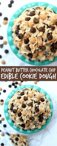 Peanut Butter Chocolate Chip Edible Cookie Dough - Edible cookie dough without eggs and heated flour so it's safe to eat and tastes amazing!!
