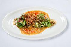 Креветки с цукини в сладком соусе чили
