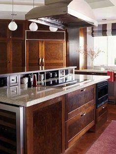 Kitchen island idea, cooktop/island.  Like this!