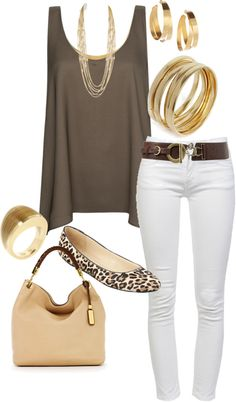 Taupe Trapeze Tank + White Skinny Jeans + Brown Belt + Leopard Flats + Gold Accessories + Tan Satchel