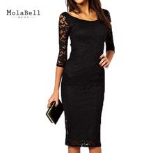 Autumn Winter Vintage Sexy Black Lace Bodycon Dress Women Elegant Three Quarter Sleeves Knee-length Bandage Party Dresses  From plonlineventures.com At Your Aliexpress link