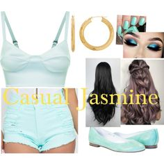 Casual Princess Jasmine by zoeyzone on Polyvore featuring La Perla, Roxana, Everlasting Gold, modern, disney and disneycharacter