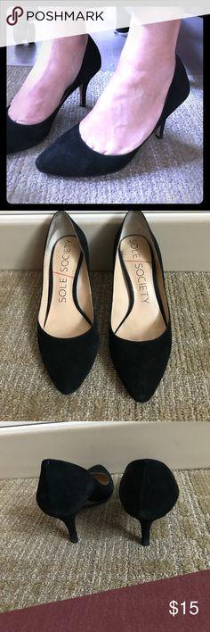 Black Suede Kitten Heels Cute Suede kitten heels! Worn but still have life in them! Sole Society Shoes Heels