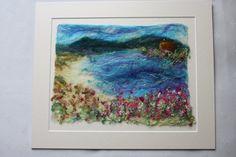 Coastal Textile Painting, Fibre Art,Painting With Wool, Coastal Art,Wet Felted Picture, Seaside Scene, coastal Wall Art, Beach Scene, Sea