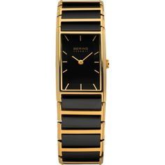 Bering Ladies Black Dial Gold Ceramic Bracelet Watch 30121-741