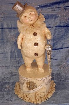Bethany Lowe Christmas Snowman Top Hat Figurine NEW