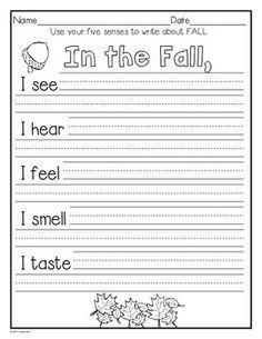 WRITING ACTIVITIES AND MORE: SEPTEMBER, OCTOBER, & NOVEMBER~K TO GRADE 1 - TeachersPayTeachers.com