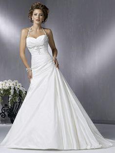A-line Halter Taffeta Sweep Train Ruched Wedding Dresses Shop uk
