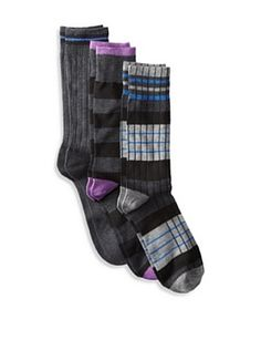 Florsheim Men's Multi Socks (3 Pair) (Charcoal/Charcoal Stripe/Black Stripe)