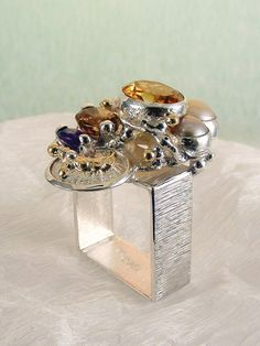gregory pyra piro square #ring 4291 #sterling #silver with a touch of solid #gold, #handmade original