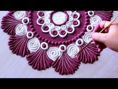 Beautiful holi special rangoli design l kolam muggulu l कैसे रंगोली डिजा. Easy Rangoli Designs Videos, Rangoli Designs Simple Diwali, Rangoli Designs Latest, Rangoli Designs Flower, Free Hand Rangoli Design, Rangoli Border Designs, Small Rangoli Design, Rangoli Patterns, Rangoli Ideas