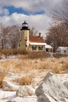 The White River Michigan lighthouse on a sunny winter day.