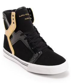 Supra Kids Skytop Black & Gold Leather Skate Shoe at Zumiez : PDP
