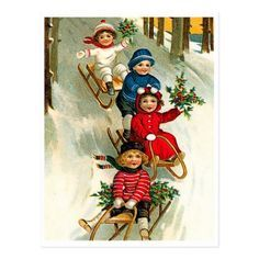 Happy sliding kids vintage Christmas postcard - kids kid child gift idea diy personalize design