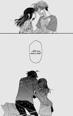 The beginning of an amazing manga! 😍😍😍 it's been some time I read something so good... just 14 chapters sadly and no wedding panel at the end... but still amazing! ❤️ (Seno Kanako & Itou Akio - Futari no Renai Shoka)