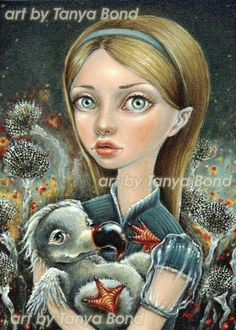 Alice and Dodo - 5x7 print of an oil painting by Tanya Bond - surreal pop - big eyed fantasy fairy tale Alice in Wonderland