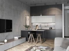 small room design ideas for men Small Apartment Interior, Small Apartment Kitchen, Small Apartment Design, Small Room Design, Living Room Kitchen, Kitchen Interior, Kitchen Walls, Cozy Apartment, Small Kitchens