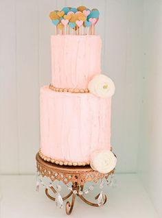 Whimsical pink wedding cake | www.onefabday.com