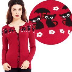 a31c5e96924 Voodoo Vixen Liv Retro Cat Cardigan Red (M