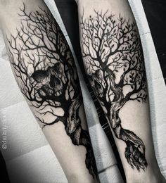 Black and gray tree and skull tattoo by @dmitriy.tkach