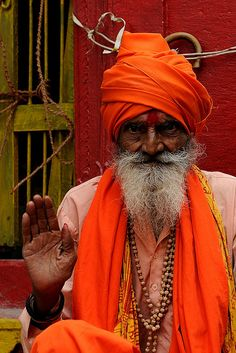 """India - Varanasi,""""Portrait of a Sadhu"""" vaisnava, through the narrow streets of the old town by M Majakovskij on Flickr."""