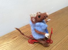 Needle Felted Mouse on scooter Handmade by Tess