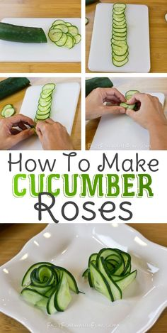 food presentation 3 Super Fun and Easy Ways To Cut A Cucumber (awesome video tutorial) I LOVE these! Cute Food, Good Food, Yummy Food, Food Carving, Food Garnishes, Garnishing Ideas, Veggie Tray, Fruit And Vegetable Carving, Snacks Für Party